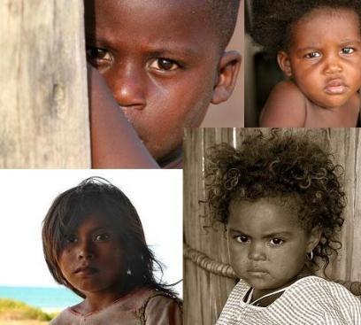 Niños en el Chocó y de la tribu Wayuu en la Guajira -Colombia.